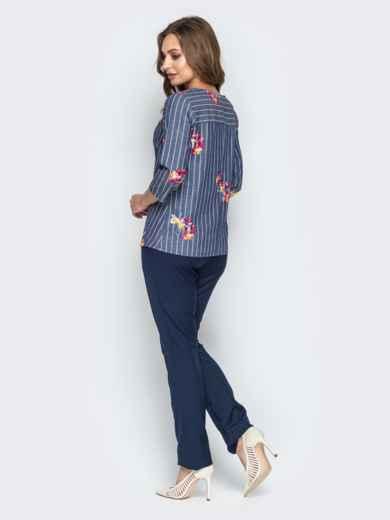 Синий комплект с брюками-дудочками и принтованной кофтой - 21173, фото 4 – интернет-магазин Dressa