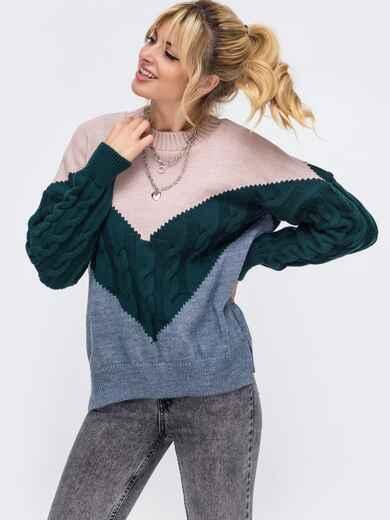 Синий свитер из шерсти с акрилом в стиле oversize 50178, фото 1