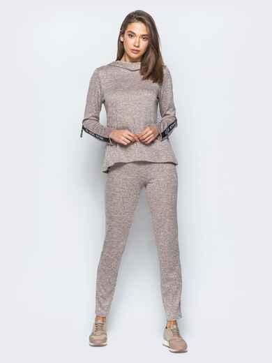 Спортивный комплект пудрового цвета с капюшоном на кофте - 17405, фото 1 – интернет-магазин Dressa