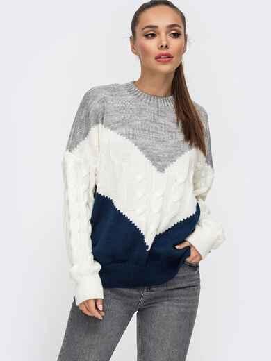 Тёмно-синий свитер из шерсти с акрилом в стиле oversize 50177, фото 1