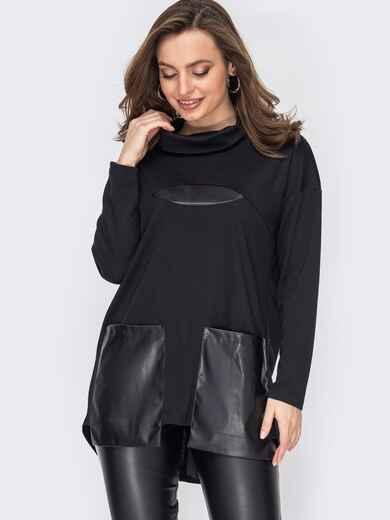 Туника с удлиненной спинкой и карманами из экокожи черная 52837, фото 1