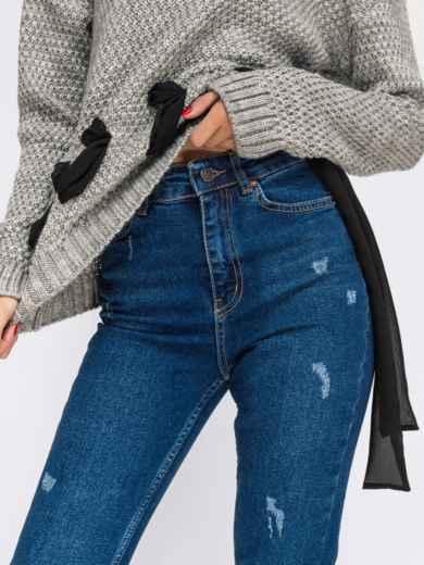 Укороченные джинсы-слимы с завышенной талией синие - 41893, фото 3 – интернет-магазин Dressa