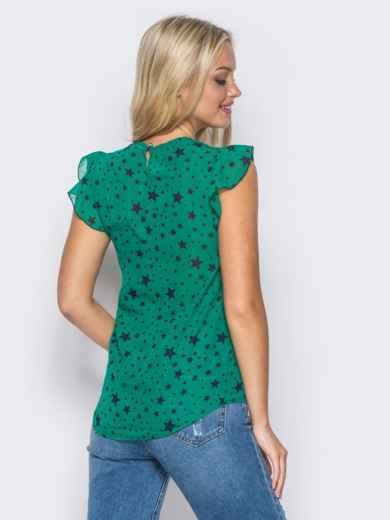 """Зеленая блузка с принтом """"звезды"""" 10192, фото 3"""