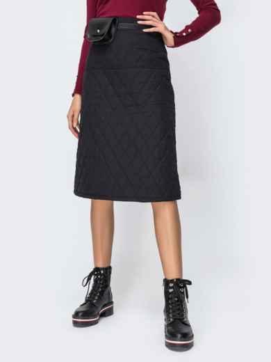 Стёганая юбка-миди чёрного цвета 42470, фото 1