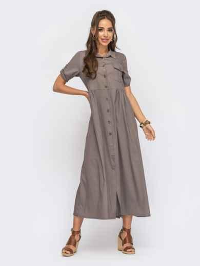 Коричневое платье-рубашка длины макси из облегченного денима 53795, фото 1