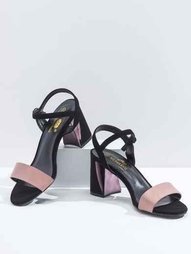 Босоножки на каблуке с розовыми вставками 47505, фото 1