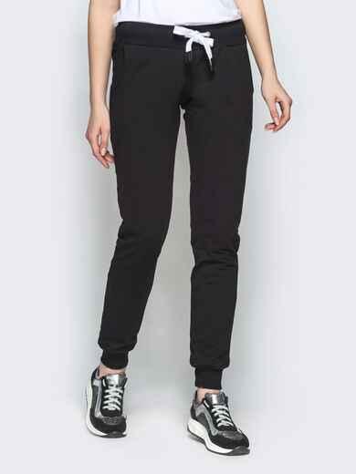 Чёрные брюки-джоггеры из двунитки с карманами - 21891, фото 1 – интернет-магазин Dressa