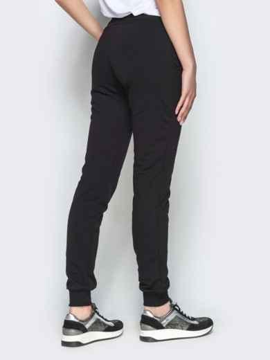 Чёрные брюки-джоггеры из двунитки с карманами - 21891, фото 3 – интернет-магазин Dressa