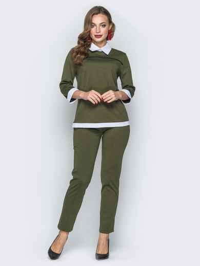 Комплект цвета хаки с имитацией рубашки на кофте - 19405, фото 1 – интернет-магазин Dressa