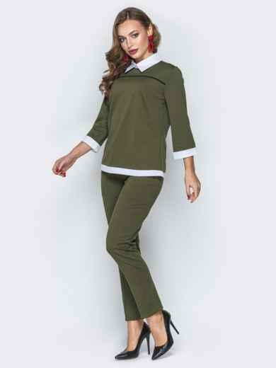 Комплект цвета хаки с имитацией рубашки на кофте - 19405, фото 2 – интернет-магазин Dressa