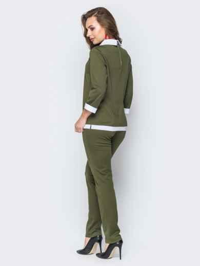Комплект цвета хаки с имитацией рубашки на кофте - 19405, фото 3 – интернет-магазин Dressa