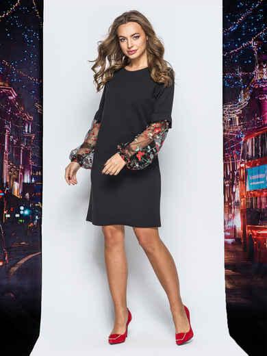 Платье из креп-дайвинга с фатином на рукавах черное - 17830, фото 1 – интернет-магазин Dressa