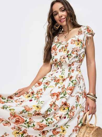 Платье с цветочнымпринтомифигурнымвырезом 49148, фото 1