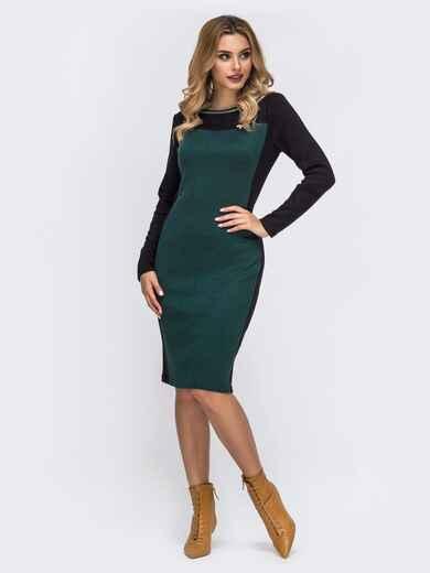 Платье с контрастной вставкой и съемной брошью зелёное 42730, фото 1