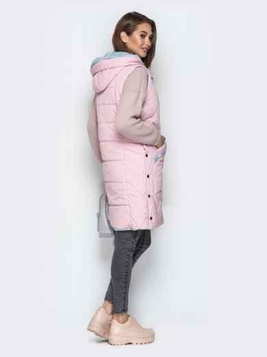 Удлиненный жилет с капюшоном и накладными карманами розовый - 20254, фото 3 – интернет-магазин Dressa