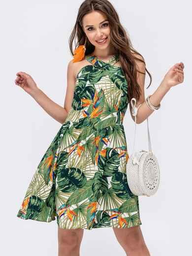 Зеленый сарафан с растительным принтоим 48254, фото 1