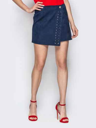 Асимметричная юбка-трапеция со шнуровкой синяя 20355, фото 1