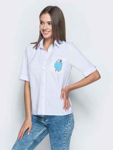 """Белая рубашка с авторским принтом """"попугай"""" - 38863, фото 1 – интернет-магазин Dressa"""