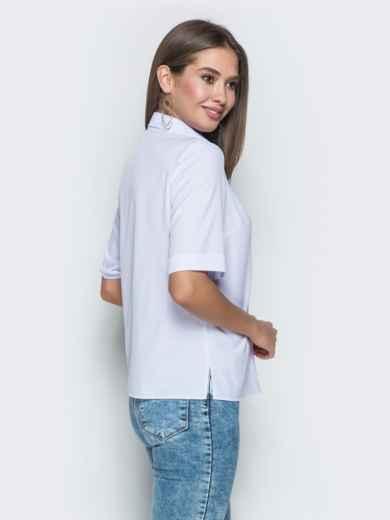 """Белая рубашка с авторским принтом """"попугай"""" - 38863, фото 2 – интернет-магазин Dressa"""