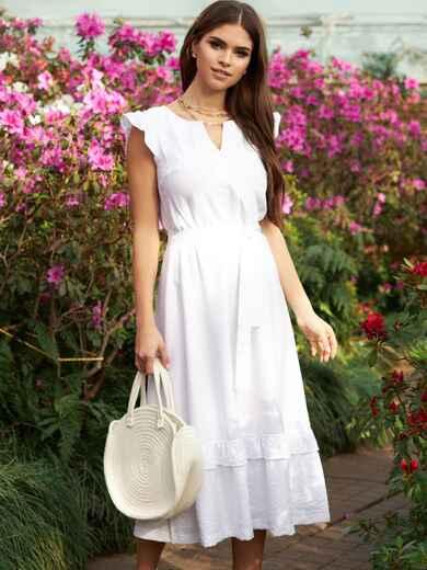 """Белое платье с юбкой-клеш и рукавом """"крылышко"""" 53786, фото 1"""