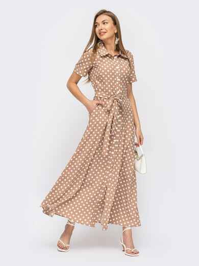 Бежевое платье-рубашка в мелкий горох 53947, фото 1