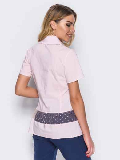 Блузка с фатином по волану розовая - 14174, фото 2 – интернет-магазин Dressa
