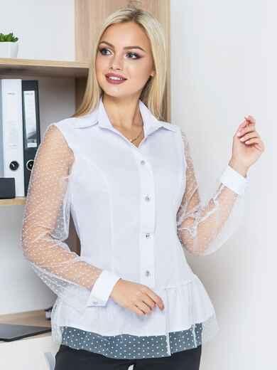 Блузка с сеткой по волану и рукавами белая - 14169, фото 1 – интернет-магазин Dressa
