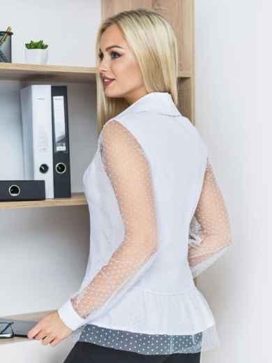 Блузка с сеткой по волану и рукавами белая - 14169, фото 2 – интернет-магазин Dressa