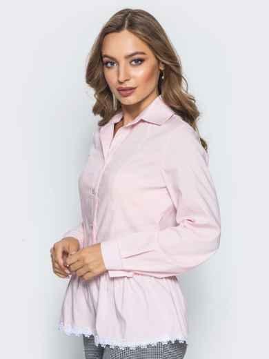 Блузка с воланом по низу и функциональными пуговицами розовая - 14172, фото 2 – интернет-магазин Dressa