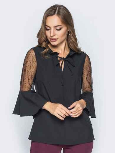 Блузка с завязкой на горловине и воланом на рукавах черная - 14181, фото 1 – интернет-магазин Dressa