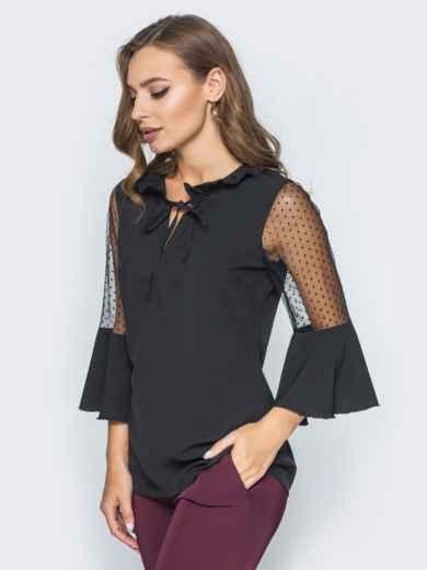 Блузка с завязкой на горловине и воланом на рукавах черная - 14181, фото 2 – интернет-магазин Dressa