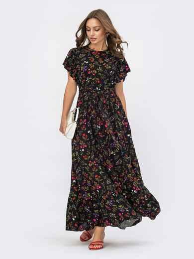 """Черное платье в цветочный принт с рукавом """"крылышко""""  53946, фото 1"""