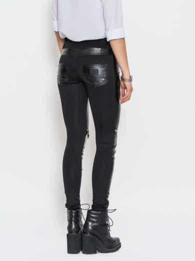 Черные кожаные лосины со змейками на брючине - 10644, фото 3 – интернет-магазин Dressa
