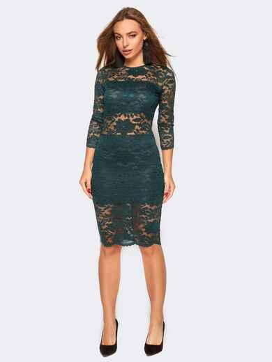 Гипюровое платье с трикотажной покладкой зелёное - 17448, фото 1 – интернет-магазин Dressa
