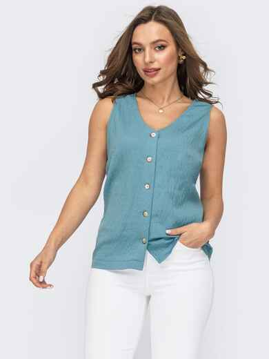 Голубая блузка прямого кроя на пуговицах 53785, фото 1