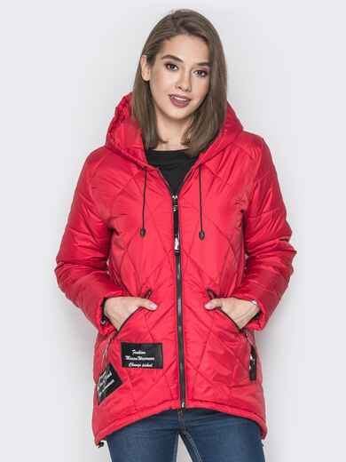 Красная куртка с капюшоном и нашивками спереди 20228, фото 1