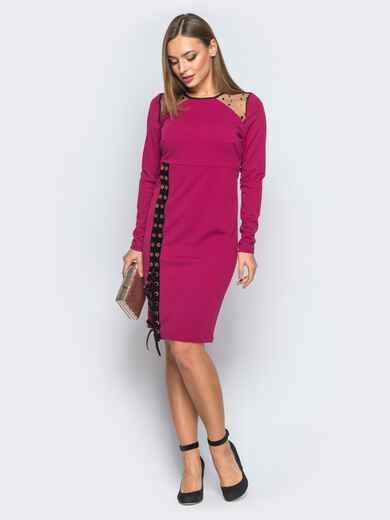 Платье-футляр с велюровой лентой малиновое - 18282, фото 1 – интернет-магазин Dressa
