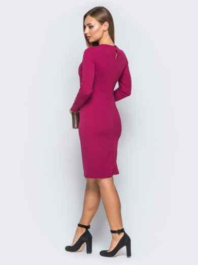 Платье-футляр с велюровой лентой малиновое - 18282, фото 2 – интернет-магазин Dressa
