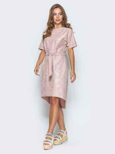 Платье с цельнокроенным рукавом и удлиненной спинкой бежевое - 14669, фото 2 – интернет-магазин Dressa