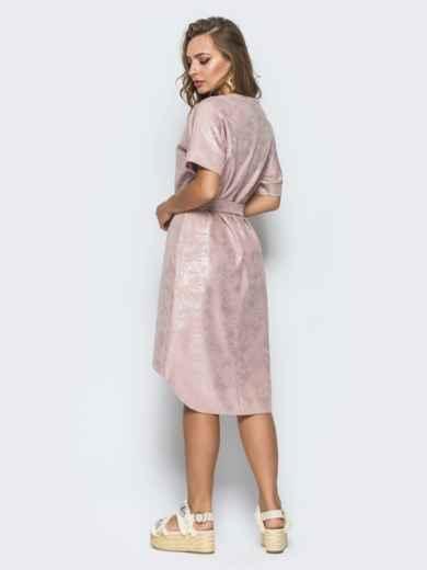 Платье с цельнокроенным рукавом и удлиненной спинкой бежевое - 14669, фото 3 – интернет-магазин Dressa