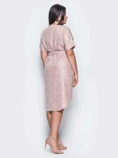 Платье с цельнокроенным рукавом и удлиненной спинкой бежевое - 14669, фото 5 – интернет-магазин Dressa