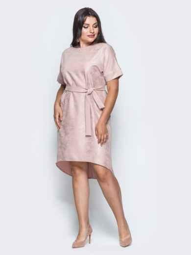 Платье с цельнокроенным рукавом и удлиненной спинкой бежевое - 14669, фото 6 – интернет-магазин Dressa