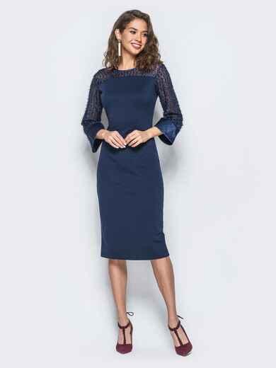 Платье тёмно-синего цвета с манжетами из атласа - 17967, фото 1 – интернет-магазин Dressa