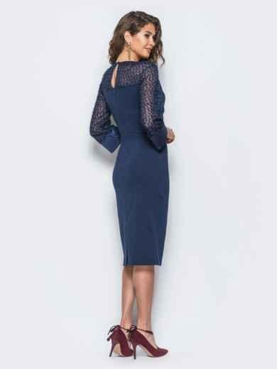 Платье тёмно-синего цвета с манжетами из атласа - 17967, фото 2 – интернет-магазин Dressa