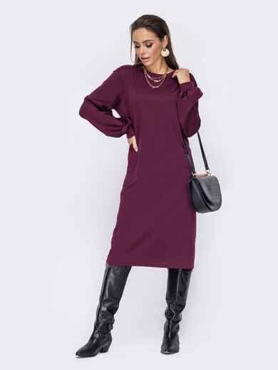 Повседневное платье прямого кроя бордовое 52670, фото 1