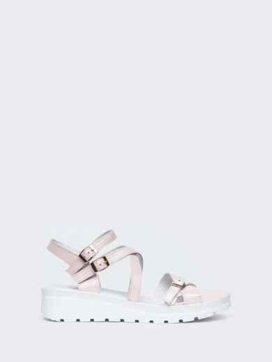 Пудровые сандалии из натуральной кожи на тонких ремешках - 21448, фото 2 – интернет-магазин Dressa
