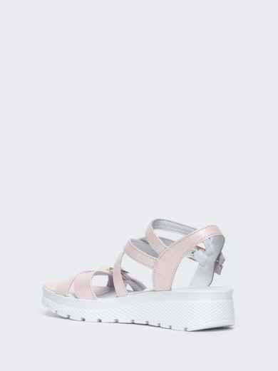 Пудровые сандалии из натуральной кожи на тонких ремешках - 21448, фото 3 – интернет-магазин Dressa