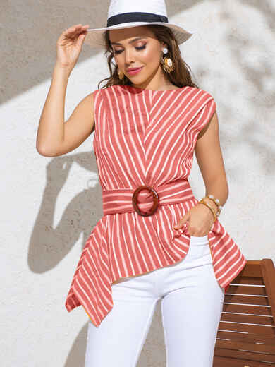 Розовая блузка в полоску с асимметричной баской 49911, фото 1
