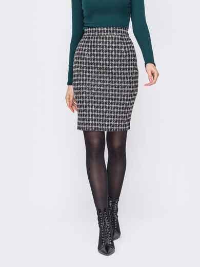 Серая юбка-карандаш в клетку 52979, фото 1