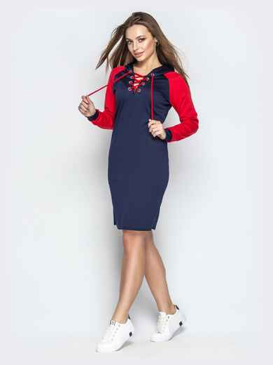 Спортивное платье с контрастными рукавами-реглан синее 20607, фото 1